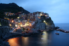 Manarola at dusk (Italy) Stock Images