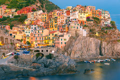 Manarola in the evening, Cinque Terre, Liguria, Italy Stock Image