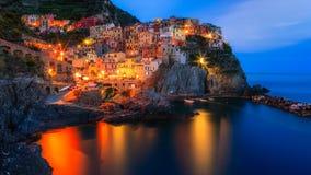 Manarola - Italien - Nacht Lizenzfreie Stockfotos