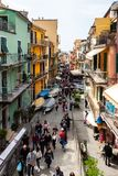 Manarola, Italy - April 21, 2019 Central street of Manarola Village crowded with tourists in Cinque Terre Region. In Italy stock photo