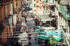 Manarola, Italy,August 10, 2013:Street in a traditional Italian Stock Photo