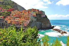Manarola, Italy. Beautiful Italian coast with a little Manarola on the cliffs stock photography