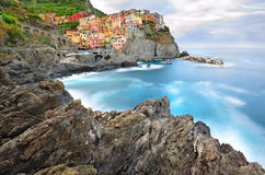 Manarola landscape in cold morning colors Stock Photography