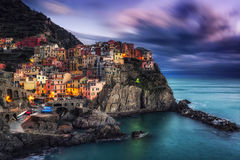 Manarola Magic during sunset Stock Images