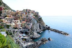 Manarola meets the Mediterranean Sea Royalty Free Stock Images
