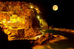 Manarola moonlit night. Italy Stock Photography