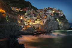 Manarola at Night Royalty Free Stock Photo