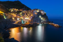 Manarola night sea Royalty Free Stock Photo