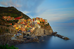 Manarola no por do sol, Itália Imagens de Stock