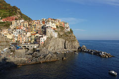 Manarola over the mediterranean sea Stock Photography