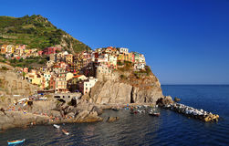 Manarola over the see Stock Images