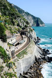 Manarola railway station from above, Italy Stock Images