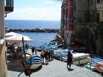 Manarola's sea. The sea among the houses of the small village of Manarola, one of the famous cinque terre (Italy Royalty Free Stock Photography