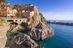 Manarola stad på det Ligurian havet Royaltyfri Foto