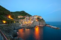 Manarola after sunset Royalty Free Stock Images