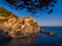 Manarola at sunset Royalty Free Stock Photo