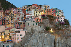 Manarola after sunset, Cinque Terre, Italy Stock Photos