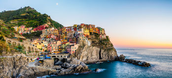 Manarola sunset. Sunset over Manarola, Cinque Terre, Italy royalty free stock photo