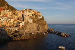 Manarola at sunset Stock Photos