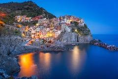 Manarola town on the coast of Ligurian Sea at dusk Stock Photography