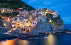 Manarola town in Italy by night Stock Image