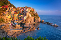 Manarola town at the Ligurian Sea Royalty Free Stock Image