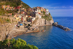 Manarola town at the Ligurian Sea Stock Photos