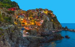 Manarola traditional typical Italian village in National park Cinque Terre with colorful multicolored buildings royalty free stock image