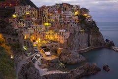 Manarola at Twilight. On the coast of the Cinque Terra in Italy Stock Photo