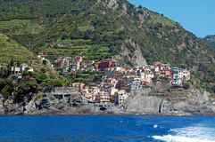 Manarola. View of Manarola, one of the 5 Cinque-Terre villages in Italy,taken from a boat Stock Image