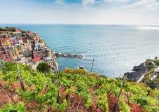 Manarola village on the Cinque Terre coast. Stock Photos