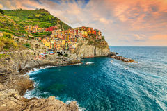 Manarola village on the Cinque Terre coast of Italy,Europe Stock Images