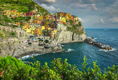 Manarola village on the Cinque Terre coast of Italy, Europe Royalty Free Stock Images