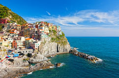 Manarola village on cliff rocks Royalty Free Stock Image