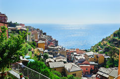Manarola village on a hot summer day Royalty Free Stock Images