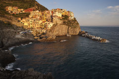Manarola village at sunset Royalty Free Stock Photos