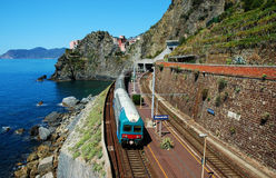 Manarola village and train station Stock Photos