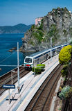 Manarola village and train station Stock Images