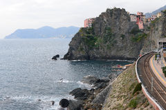 Manarola village and train station; Cinque Terre Royalty Free Stock Image