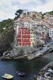 Manarola village at twilight. Cinque Terre National Park, Liguria Italy. stock photography