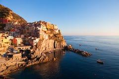 Manarola wioska rybacka, seascape w Pięć ziemiach, Cinque Terre N Zdjęcia Stock