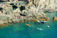 Manaroladorp, Cinque Terre Coast van Italië stock afbeeldingen