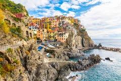 Manaroladorp, Cinque Terre Coast van Italië Manarola een mooie kleine stad in de provincie van La Spezia, Ligurië, het noorden va royalty-vrije stock afbeelding