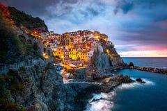 Manaroladorp, Cinque Terre Coast van Italië Manarola een mooie kleine stad in de provincie van La Spezia, Ligurië, het noorden va royalty-vrije stock fotografie