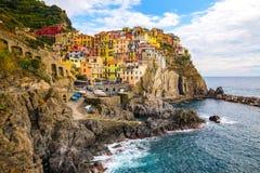 Manaroladorp, Cinque Terre Coast van Itali? Manarola een mooie kleine stad in de provincie van La Spezia, Liguri?, het noorden va royalty-vrije stock foto