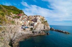 Manaroladorp en Cinque Terre Stock Fotografie