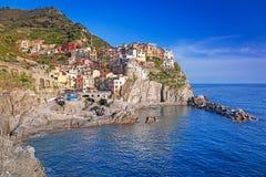 Manarolastad bij het Ligurian Overzees Royalty-vrije Stock Foto