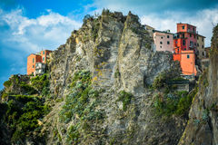 Manarolo - houses on the rock Royalty Free Stock Image