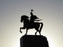 Manas statue. Silhouette of manas statue on Ala-too square in Bishkek, Kyrgyzstan royalty free stock photos