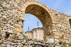 Fortified Manasija Monastery. MANASIJA MONASTERY, SERBIA  - MAY 5, 2018 : Serbian medieval fortification, Fortified Manasija Monastery, Editorial use only Royalty Free Stock Photography